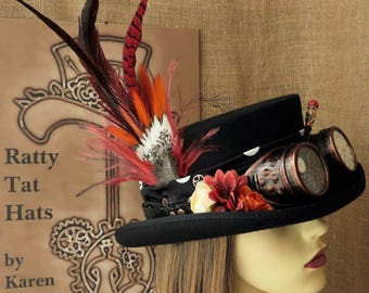 Ladies Steampunk hat - The Polka with goggles and watch parts, Floral hat with Hatpin, Handmade, Unique, Mad Hatter Hat, Tea Party Hat