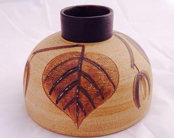Vintage Sgrafo vase, Peter Muller, 60s 70s pottery, mid century vase, Art pottery, Vintage studio vase, German Sgrafo vase