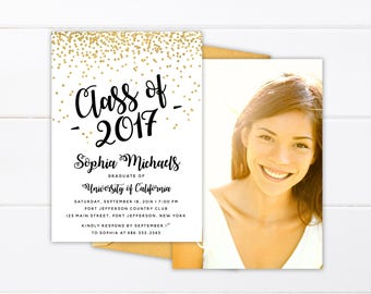 Printed or Printable College Graduation Invitation, High School Graduation Announcement, Class of 2017 Senior Announcement Class of 2018