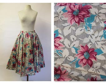 1950's Pink & Blue Flower Full circle Skirt dance, jive, picnic all day long