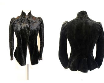 True Vintage/ Antique Victorian Velvet Jacket mourning