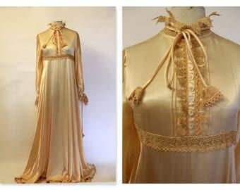 Drop Dead Gorgeous! Peach Liquid Satin full bias cut gown RESERVED
