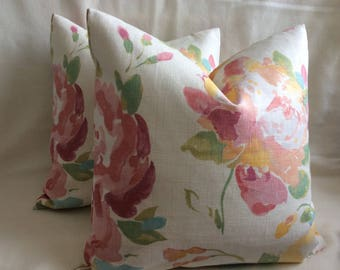 Pair of Pastel Watercolor Designer Pillow Covers - Pink/ Green/ Yellow - Floral Braemore Fabric - 18x18 Covers