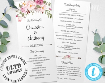 Wedding Program Template, Instant Download, Bohemian Floral Wedding Program, Edit in Our Web App, Printable Ceremony Program