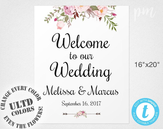 welcome wedding sign template wedding welcome sign welcome. Black Bedroom Furniture Sets. Home Design Ideas