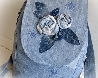 Denim backpack Boho backpack Jean backpack Reused denim Recycled jeans Rucksack jeans Reused denim  Big jeans backpack Unique jeans backpack