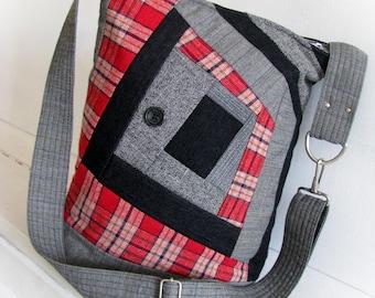patchwork bag, messenger bag, textile shoulder bag, quilting hand bag,  crossbody bag, autumn winter bag ,sewing gift, unique designer bag