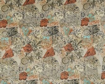 "Decor Fabric, Floral Print, Beige Fabric, Apparel Fabric, Home Accessories, Indian Fabric, 44"" Inch Cotton Fabric By The Yard ZBC4647A"