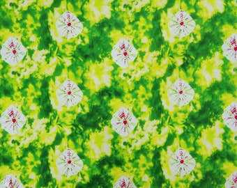 "Dressmaking Decorative Fabric, Tie Dyed Print, Green Fabric, Home Decor Fabric, 45"" Inch Cotton Fabric By The Yard ZBC8379C"