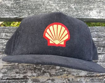 Vtg Shell Gas Station   corduroy leather strapback  hat cap made in usa