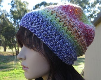Slouchy Beanie, Womens Slouch Hat, Crochet Multi Coloured Beanie