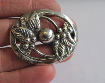 Vintage Berries and Leaves Brooch - Berry Pin- Solid Sterling Silver