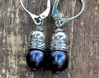 Earrings, dangle earrings, sterling earrings, silver earrings, pearl earrings, freshwater pearls, sterling silver earrings