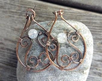 Rainbow moonstone antiqued copper dangle earrings, rainbow moonstone wire wrapped earrings, copper wire earrings, copper dangle earrings