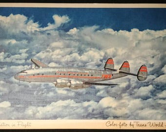 TWA Constellation Post Card 1950's