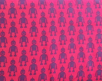 Robots - Pink , Cotton Lycra Jersey Knit Fabric