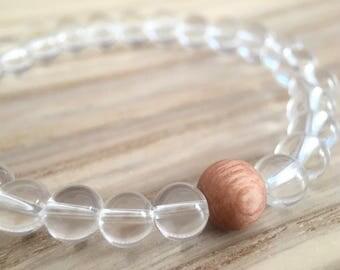 Crystal Quartz Mala, Yoga Bracelet, Wrist Mala, Healing Mantra Beads, Rosewood Bracelet, Spiritual Jewelry, Japa Mala, Gemstone Prayer Beads
