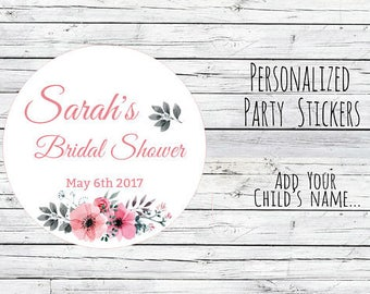 Watercolor Floral Personalized Thank You Bridal Shower Stickers, Favor Tags, Labels, Wedding Labels, Wedding Favour Stickers, Wedding Ideas