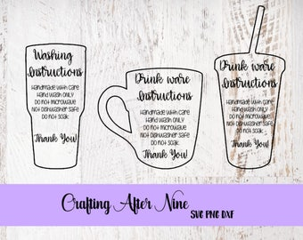 Care Card Svg, Drinkware Bundle, Apply Vinyl Decal, Print and Cut File, Silhouette, Print and Cut Instructions, SVG Design, File ONLY