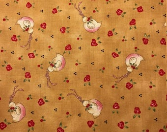 White Birds on Tan Background, Here Comes Santa by Arlene Neely for Red Rooster Fabrics, 100% Cotton