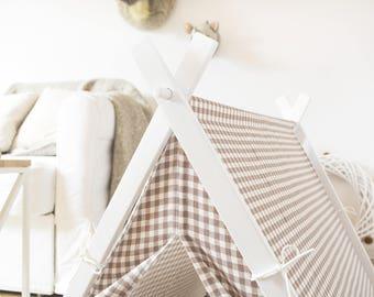 Dog house - beige&white check (medium size) Oh yes, FREE shipping!