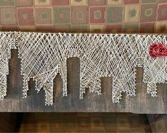 Handcrafted String Art Chicago Skyline Art Piece