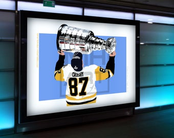 Sidney Crosby Digital Painting Print. Ice Hockey. Hockey. Pittsburgh Penguins. Penguins. Stanley Cup. Wall Art. Poster. Gift.