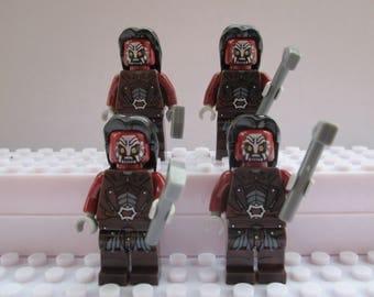 Seigneur de l'anneaux le Hobbit 4 X Uruk Hai Orcs s'adapte à tous les Lego ensembles incluant Marvel, Star Wars et Ninjago