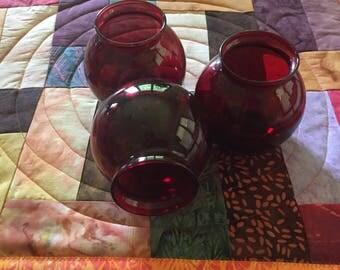 Ruby Red Vases set of 3