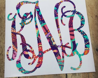 Paisley Monogram Decal, Monogram Decal, Paisley Decal, Preppy Decal, Yeti Decal, Personalized Tumbler Decal, Monogram Decal, Car Decal
