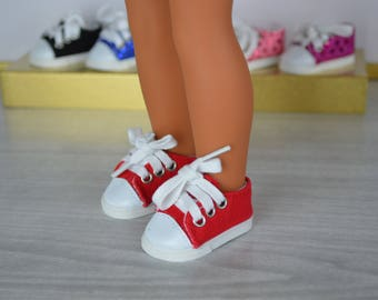 "Red Converse Style Shoe for 14"" Doll like the Wellie Wisher"