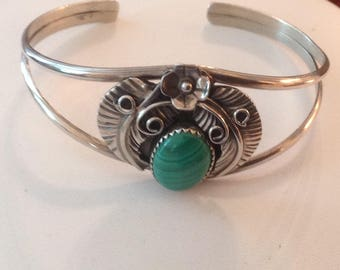 NAVAJO Sterling Silver Malachite Cuff Bracelet...Artist signed on back A M