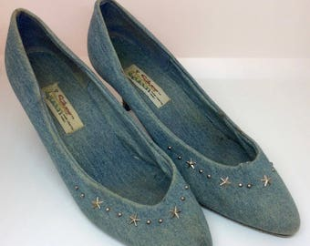 Vintage Silver Queen star studded denim pumps, blue jean high heels size 8 1/2 leather sole