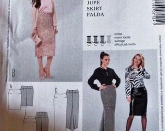 Burda Pattern, Burda7124, misses fitted skirt,above knee, below knee and floor length skirt, sz: 10 thru 24