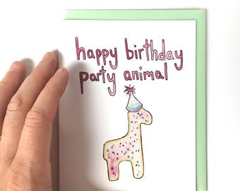 pink birthday card for her, party animal birthday, frosted animal cookie card, food pun note card, birthday girl card, watercolor food note