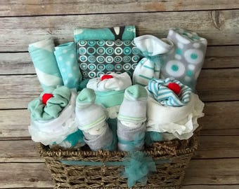 Baby gift basket etsy baby gift basket baby shower gift gender neutral gift basket baby boy gift basket baby negle Choice Image