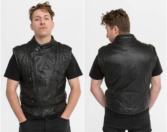 MAD MAX / Leather Biker Vest / Size L