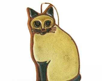 Vintage Victoria Littlejohn Stoneware Ceramic Cat Trivet Wall Hanging Art