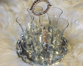 Sherry Glass Set with Silver Serving Tray