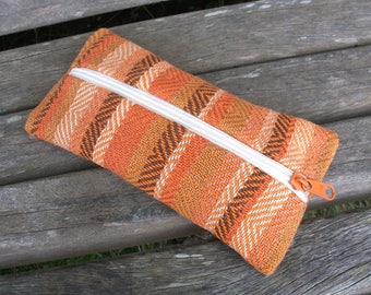 handwoven pencil cases for pens and trifles, terracotta brown beige pumpkin, linen cotton, to organize in a handbag
