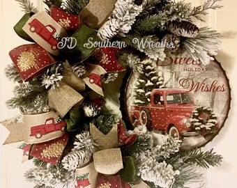 Rustic Christmas, Vintage Truck Wreath, Pine Wreath, Christmas Wreath, Christmas Truck, Flocked Wreath, Grapevine Wreath, Red Truck