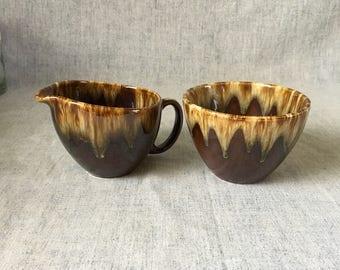 Vintage Canonsburg Brown Drip Open Sugar Bowl and Creamer