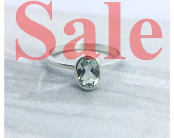 Solid sterling silver and green amethyst statement ring, gift for her, stackable ring