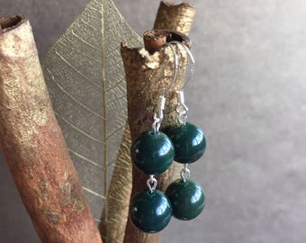 Bloodstone Earrings, Bloodstone and Sterling Silver Earrings