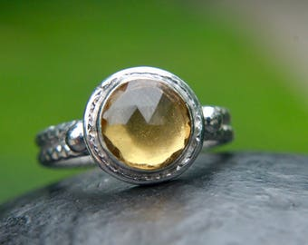 Sterling silver 925 oxidized ring with natural citrine stone