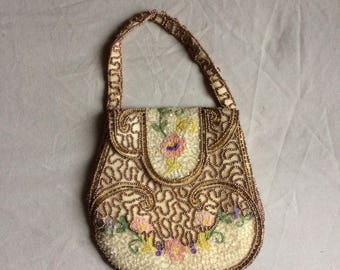 Stunning vintage 50s beaded cream purse handmade in Belgium
