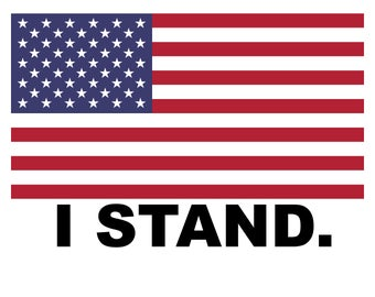 I Stand.  American Flag Vinyl Decal