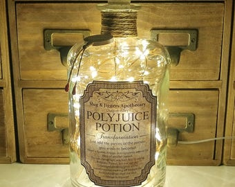 700ml Harry Potter Slug & Jiggers Diagon Alley Apothecary Polyjuice Potion Clear LED Bottle Lamp Light by JayEngrave