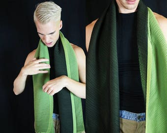 Sheer Lime Green and Black Pleated Versatile Scarf