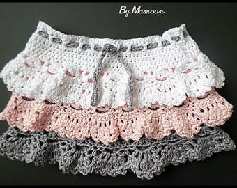 Skirt with Ruffles and stitch (3-9 months) baby crocheted white cotton lace, pink & grey